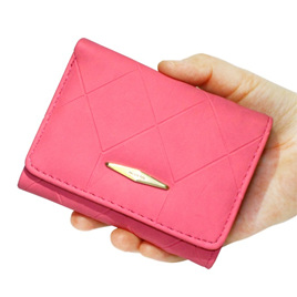Short  Indent Wallet - Rose pink