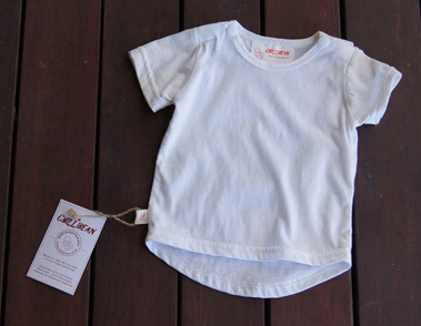 Short Sleeve Tee with shoulder snaps, White, GOTS Organic Cotton Knit, 0-3m