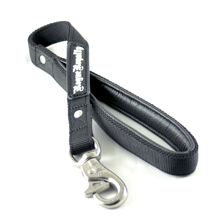 Short strong black nylon dog leash by Rogue Royalty