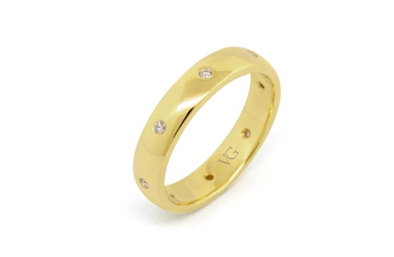 Shot set diamond ring