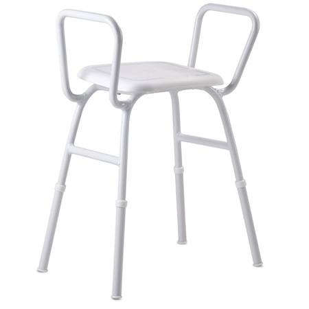SHOWER STOOL WITH ARMS ALUMIN