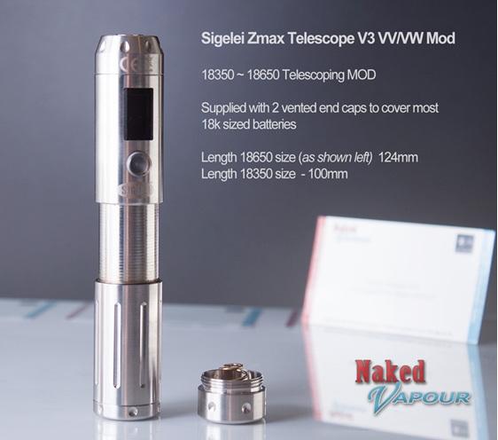Sigelei Zmax Telescope V5 VV/VW MOD - Naked Vapour
