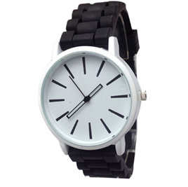 Silicone Adults Watch - Black with White Face
