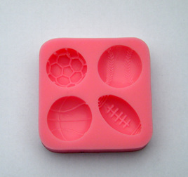 SILICONE MOULD - 4 SPORTS BALLS