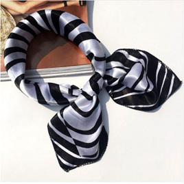 Silky Black & White Wavy Zebra Pattern Scarf (5014)