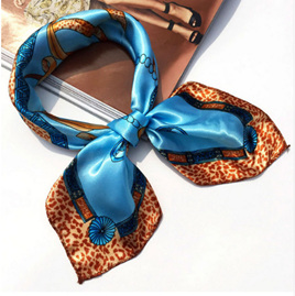 Silky Blue & Animal Print Contrast Scarf (5007)