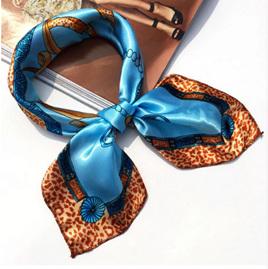 Silky Blue & Animal Print Contrast Scarf (5007)