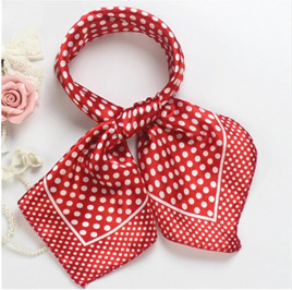 Silky Red & White Spot Scarf
