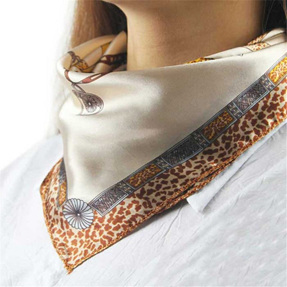 Silky Scarf - Leopard Print edging