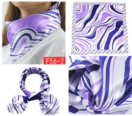 Silky Scarf - Purple Wavy Pattern