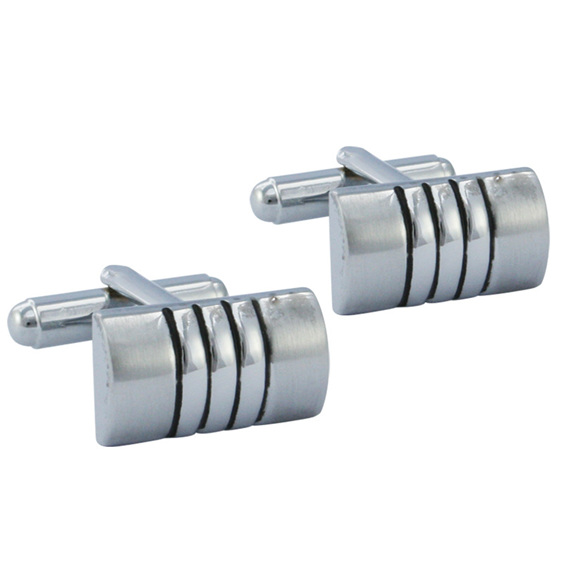 Silver and Black Rectangular Cufflinks