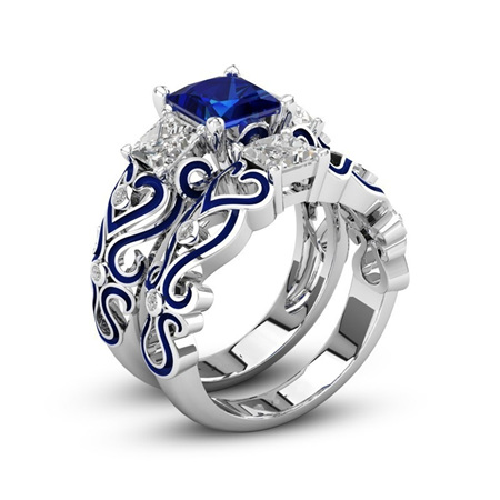 Silver & Blue 2pc Heart Ring Set Size 8