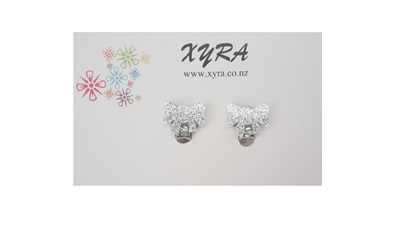 Silver Bow Clip-on Earrings