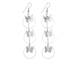 Silver Butterfly Dangling Long Earrings