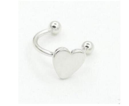 Silver Coloured Ear Cuff  Earring - HEART