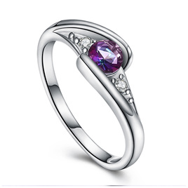 SILVER CRYSTAL RING - US7
