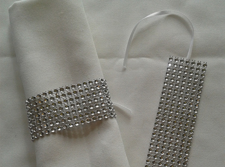 Silver endless diamond napkin ring