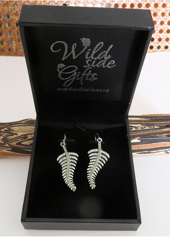 Silver fern earrings that come in a lovely jewellery box.