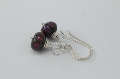 Silver foil earrings - ED purple dots