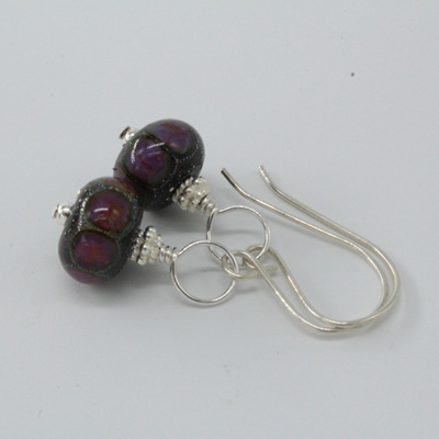 Silver foil earrings - ED purple dots