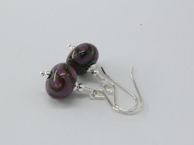 Silver foil earrings - ED Purple pattern