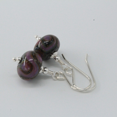 Silver foil earrings - ED Purple pattern
