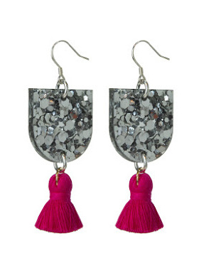 Silver glitter bunting with small ruby tassel