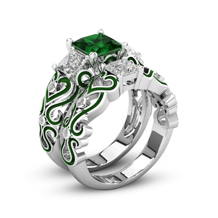 Silver & Green 2pc Heart Ring Set Size 8
