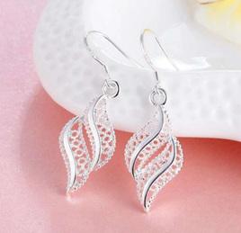 Silver  Hollow Dangle Long Earrings