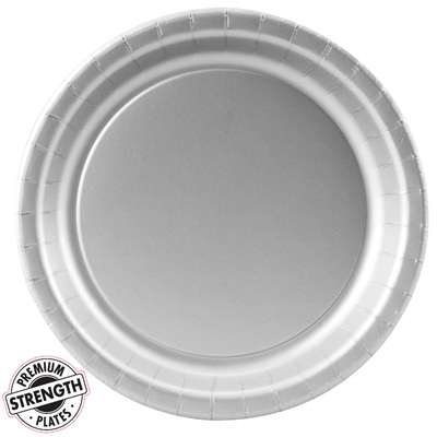 Silver Party Lunch Plates x24