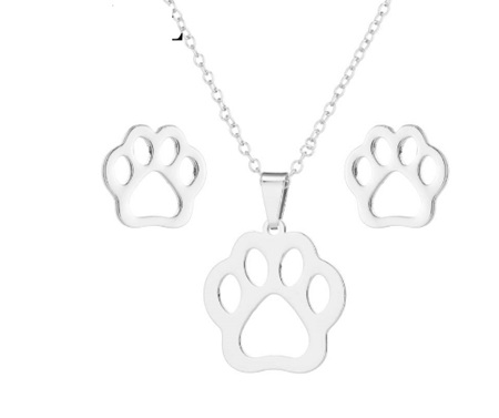 Silver Paw Necklace & Earring Set