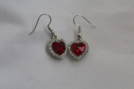 Silver Plated  Heart Earrings - Red