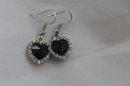 Silver Plated Heart Purple Gemstone Earrings
