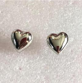 Silver Plated Heart Stud Earrings