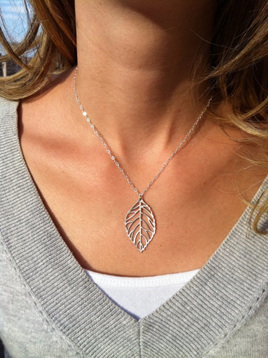 Silver Plated Leaf Necklace