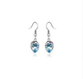 Silver Plated Luxury Statement Crystal Earrings *BLUE*