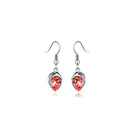 Silver Plated Luxury Statement Crystal Earrings *ORANGE*