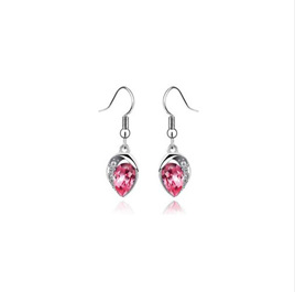 Silver Plated Luxury Statement Crystal Earrings *PINK*