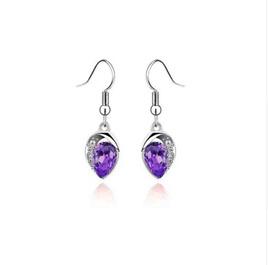 Silver Plated Luxury Statement Crystal Earrings *PURPLE*
