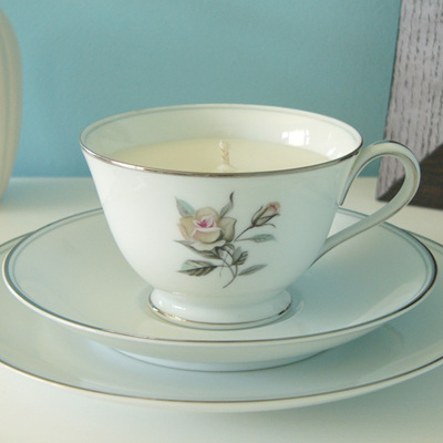 Silver rose teacup trio candle