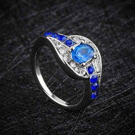 Silver & Sapphire Ring - US9