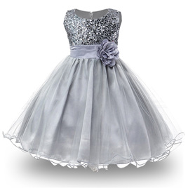 Silver Sequined Party Dress - Size 5