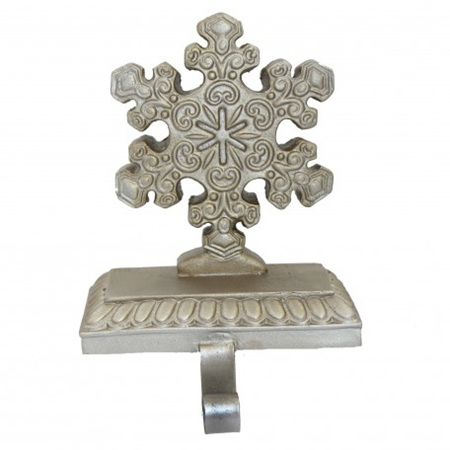 Silver Snowflake Stocking Holder