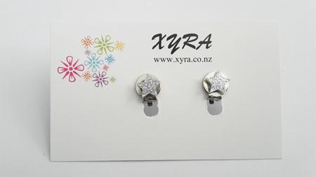 Silver Star Clip-on Earrings