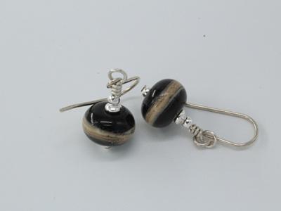 Silvered Ivory earrings - on black