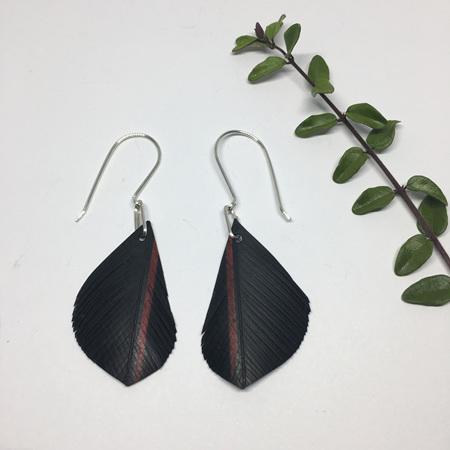 Silvereye Earrings with Red Stripe