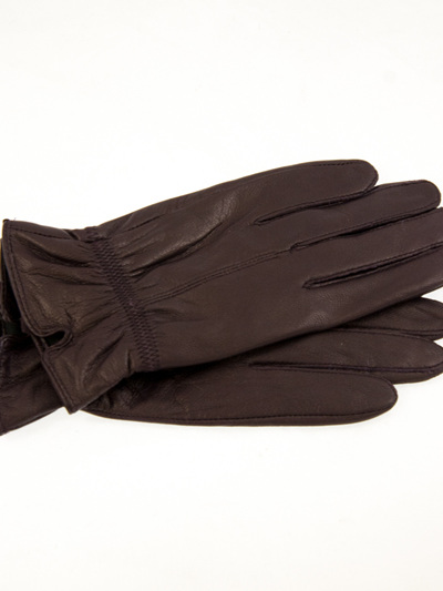 SIMPLE STITCH GATHERED SIDE LEATHER GLOVE PURP