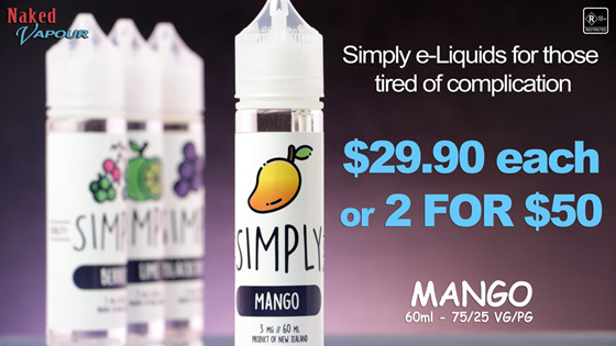 Simply e-Liquids now at Naked Vapour - Mango
