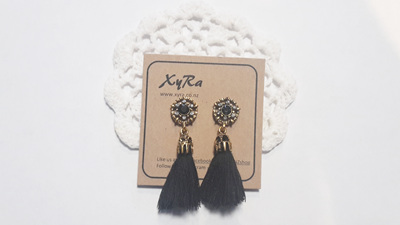 Single Tassel Earrings - black, white, grey and red
