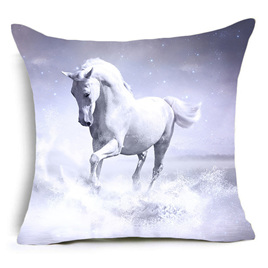 Single White Beauty Horse Cushion Cover